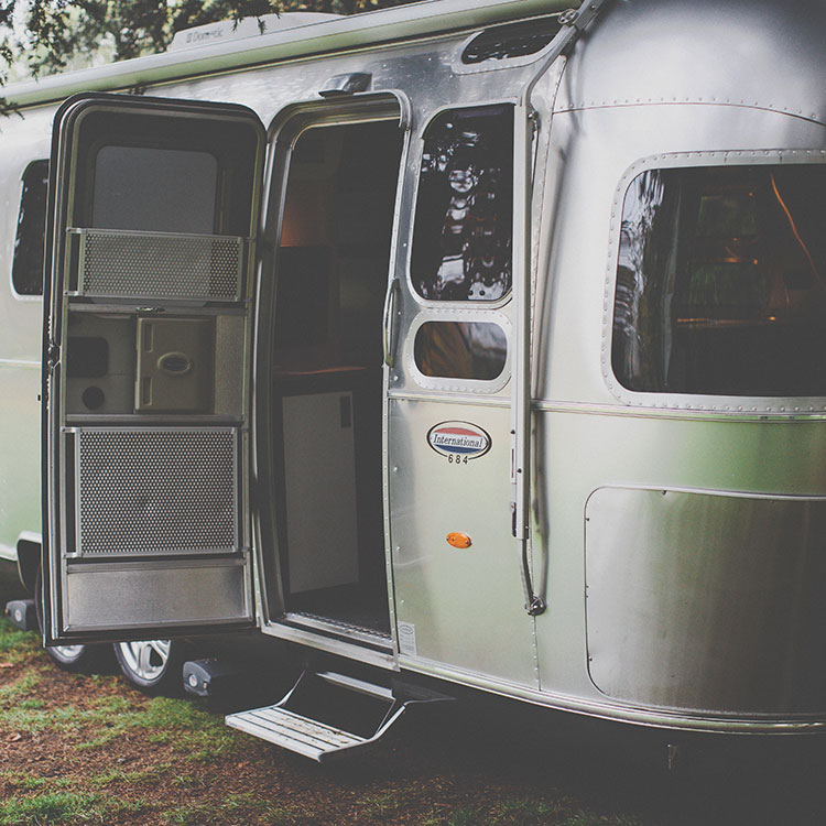 side shot of the airstream trailer